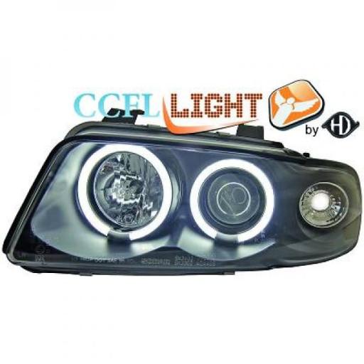 Set de deux phares principaux H1/H1 noir AUDI A4 de 95 à 98