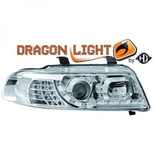 Set de deux phares principaux H1/H1 chrome AUDI A4 de 99 à 00