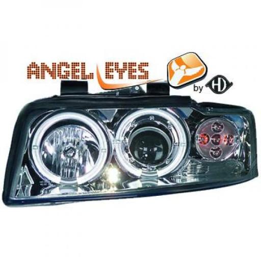 Set de deux phares principaux H1/H1 chrome AUDI A4 de 00 à 04