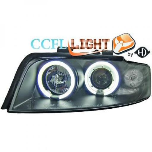 Set de deux phares principaux H1/H1 noir AUDI A4 de 01 à 04