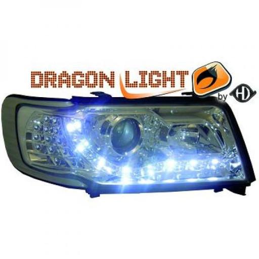 Set de deux phares principaux H1/H1 chrome AUDI 10 de 90 à 94