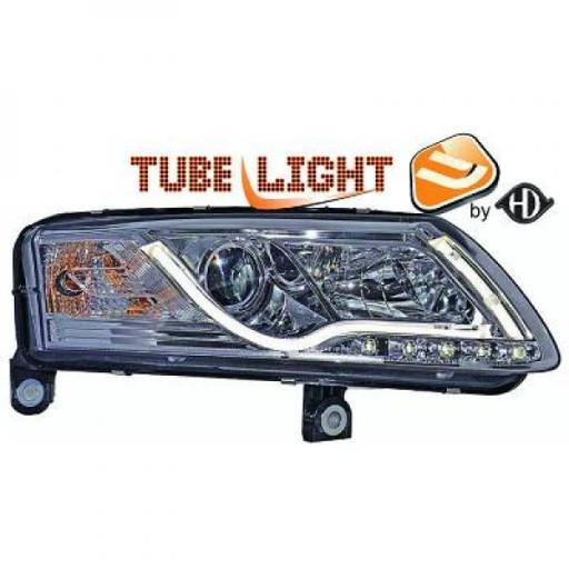 Set de deux phares principaux H7/ H1 chrome AUDI A6 de 04 à 08