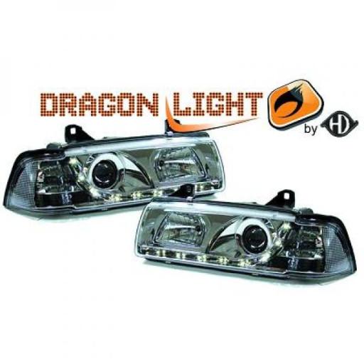 Set de deux phares principaux H1/H1 chrome BMW Série 3 (E36) de 90 à 1