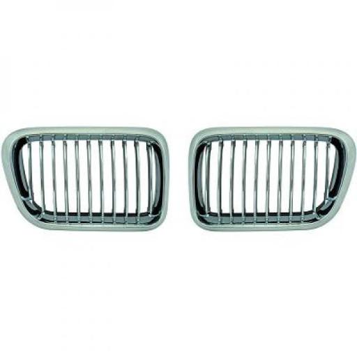 Set des deux grilles de calandre noir chrome BMW Série 3 (E36) de 96 à 99