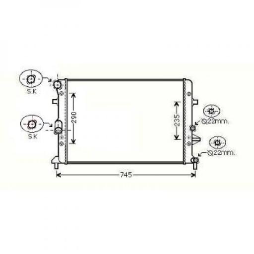 Radiateur, refroidissement du moteur 650 x 450 x 34 de 08 à >> - OEM : 1K0121251CL