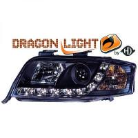 Set de deux phares principaux noir limpide AUDI A6 de 01 à 04