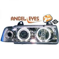 Set de deux phares principaux H1/H1 chrome BMW Série 3 (E36) de 90 à 99