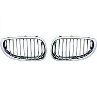 Set des deux grilles de calandre cadre et lame chrome intérieur noir BMW Série 5 (E60, E61) de 03 à 07