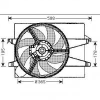 Ventilateur refroidissement du moteur avec moteur électrique FORD FIESTA 5 (JH, JD) de 02 à 08 - OEM : 1474348