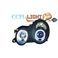 Set de deux phares principaux H1/H1 noir MERCEDES CLK (C208) de 98 à 02
