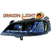 Set de deux phares principaux H1/H1 noir OPEL ASTRA G de 97 à 04