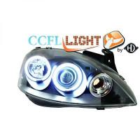 Set de deux phares principaux H1/H1 noir OPEL CORSA C de 00 à 06