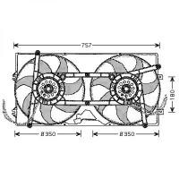 Ventilateur refroidissement du moteur pour numéro OE: 701121207C VOLKSWAGEN TRANSPORTEUR 4 de 90 à 97 - OEM : 701121207C