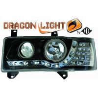 Set de deux phares principaux H1/H1 noir VOLKSWAGEN TRANSPORTEUR 4 de 90 à 3