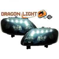 Set de deux phares principaux H7/ H1 noir VOLKSWAGEN TOURAN (1T1, 1T2) de 03 à 06