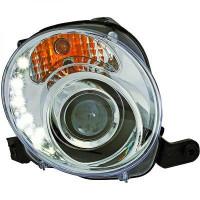 Set de deux phares principaux H1/H1 chrome FIAT 500 de 07 à 15
