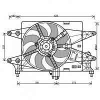Ventilateur refroidissement du moteur sans climatisation pour boite manuel FIAT DOBLO (119, 223) de 02 à 10 - OEM : 51768022