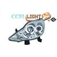 Set de deux phares principaux H1/H1 chrome PEUGEOT 107 de 05 à 12