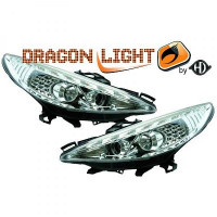 Set de deux phares principaux H1/H1 avec correcteur PEUGEOT 207 de 06 à 12