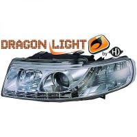 Set de deux phares principaux H1/H1 chrome SEAT LEON 1 de 99 à 04