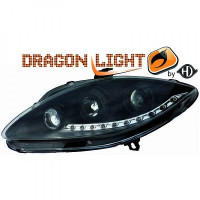Set de deux phares principaux H1/H1 noir SEAT ALTEA de 04 à 09