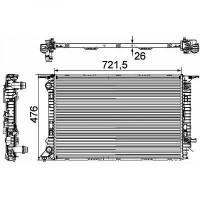 Radiateur, refroidissement du moteur 720 x 475 x 26 pour boite auto de 07 à >> - OEM : 8K0121251T