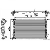 Radiateur, refroidissement du moteur 720 x 475 x 36 pour boite manuel de 07 à >> - OEM : 8K0 121 25 1H