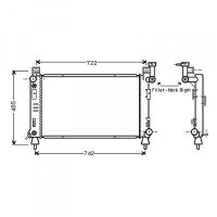 Radiateur, refroidissement du moteur 637 x 377 de 92 à 96 - OEM : 5191926AA