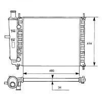 Radiateur, refroidissement du moteur 475 x 414 pour modèles sans clim de 95 à 99 - OEM : 7776508