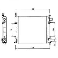 Radiateur, refroidissement du moteur 382 x 365 x 28 pour modèles sans clim de 97 à 02 - OEM : XS5H8005-EA