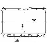 Radiateur, refroidissement du moteur 350 x 668 boite auto de 89 à 98 - OEM : GRD169