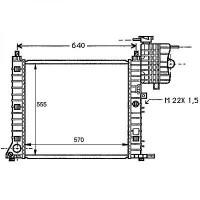 Radiateur, refroidissement du moteur 570 x 555 x 42 pour modèles sans clim de 96 à >> - OEM : A6385012001