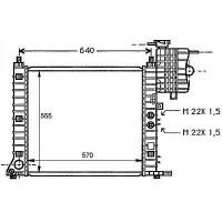 Radiateur, refroidissement du moteur 570 x 555 modèle avec clim de 96 à >> - OEM : 6385012201