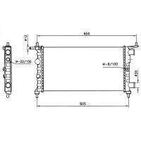 Radiateur, refroidissement du moteur 530 x 285 pour boite manuelle de 96 à >> - OEM : 90531547