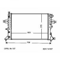 Radiateur, refroidissement du moteur 600 x 375 x 26 pour boite manuel de 98 à >> - OEM : 9202504