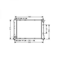 Radiateur, refroidissement du moteur 522 x 400 x 25 de 99 à >> - OEM : PCC107681
