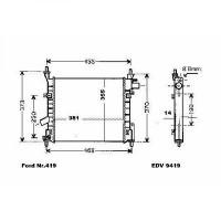 Radiateur, refroidissement du moteur 381 x 355 x 14 pour modèles sans clim de 02 à 08 - OEM : 1S5H8K161AA