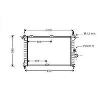 Radiateur, refroidissement du moteur 530 x 358 de 09 à 97 - OEM : 90541496