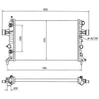 Radiateur, refroidissement du moteur 600 x 368 x 34 pour boite auto de 98 à >> - OEM : 9201018