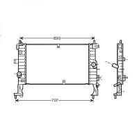 Radiateur, refroidissement du moteur 607 x 370 pour boite manuelle de 03 à 10 - OEM : 13148295