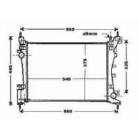 Radiateur, refroidissement du moteur 540 x 375 pour boite manuel de 07 à >> - OEM : 51790774