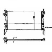 Radiateur, refroidissement du moteur 630 x 340 pour boite manuel de 07 à >> - OEM : 1330Y4