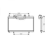 Radiateur, refroidissement du moteur 380 x 704 de 04 à >> - OEM : 1330K8
