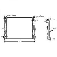 Radiateur, refroidissement du moteur 494 x 403 x 18 de 03 à >> - OEM : 8200523416