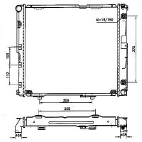Radiateur, refroidissement du moteur 535 x 500 de 84 à 95 - OEM : A1245009803