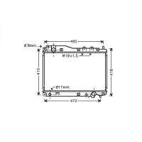 Radiateur, refroidissement du moteur 350 x 520 x 25 de 01 à 05 - OEM : 19010PLZE01