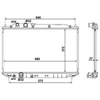Radiateur, refroidissement du moteur 375 x 670 de 05 à 09 - OEM : 19010RNAJ51