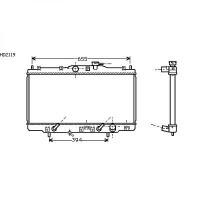 Radiateur, refroidissement du moteur 350 x 677 de 98 à 02 - OEM : 19010PDEE01