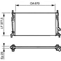 Radiateur, refroidissement du moteur 650 x 370 x 16 de 05 à >>