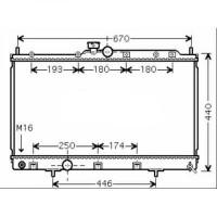 Radiateur, refroidissement du moteur 375 x 685 x 16 de 03 à >> - OEM : MR968352